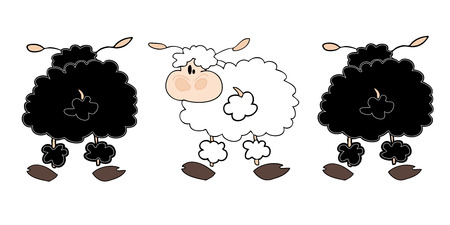 Black sheeps group with one white. Vector