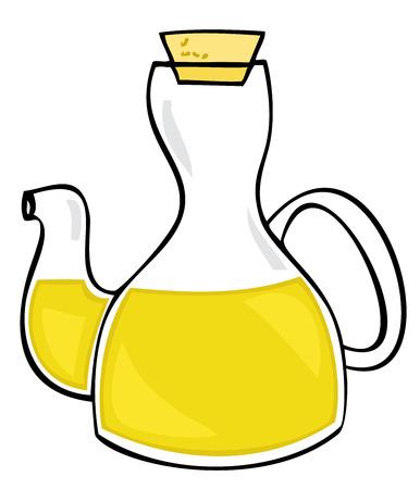 food container: Aceite de oliva en botella de vidrio con corcho.