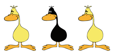 Yellow ducks group with one black. Vector