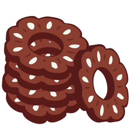 bułka maślana: Pala czekoladowe plików cookie. Ilustracja