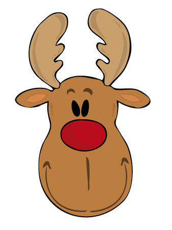 red deer: Funny reindeer face. Illustration