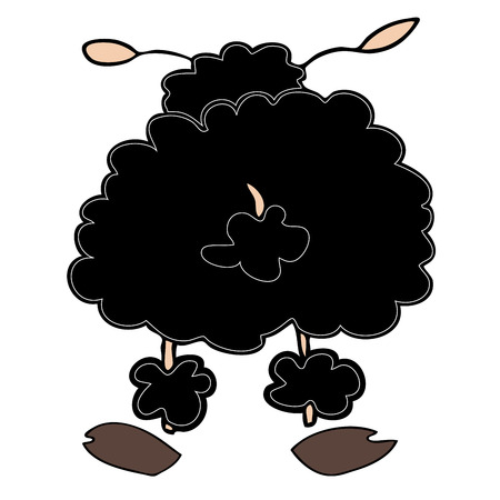 Funny black sheep. Vector