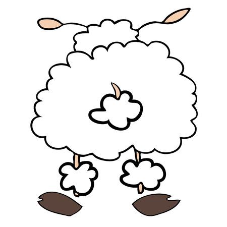 animalitos tiernos: Funny ovejas blancas volver convirtieron.  Vectores