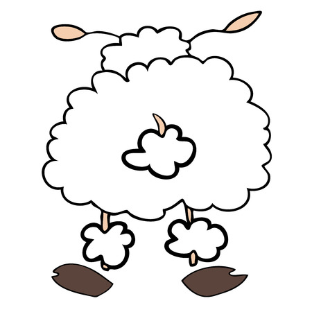 Funny white sheep back turned. Stock Vector - 7289921