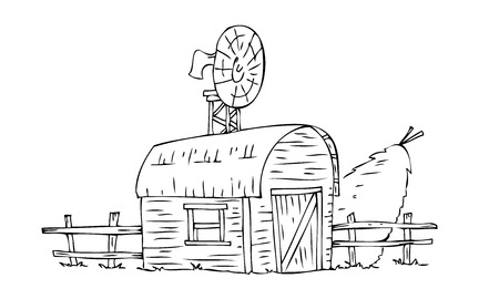 Barn house with straw sheaf. Vector