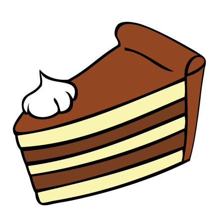 초콜릿 케이크 조각입니다. 일러스트