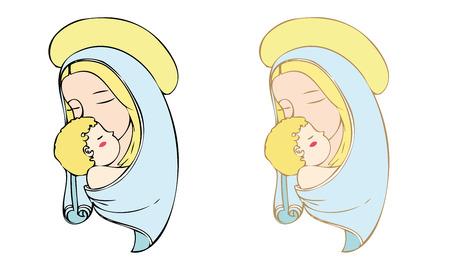 saint mary: Madonna and child. Illustration