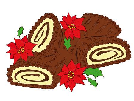 christmas cake: Chocolate Yule log.