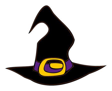 Halloween witch hat. Vector