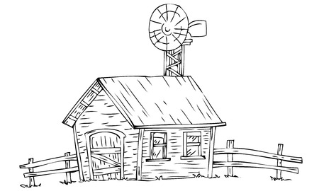 wood agricultural: Farm house with windmill.