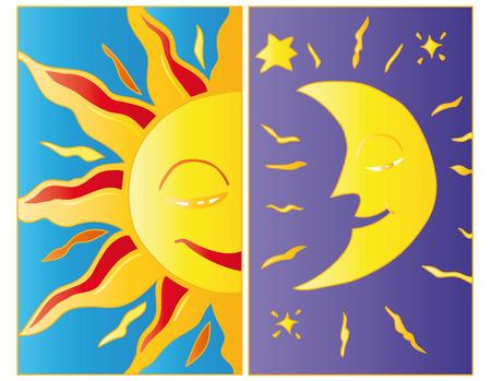 Moonlight and sunlight.  Vector