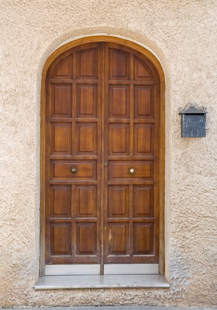 doorlock: Wooden door. Stock Photo