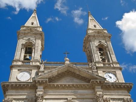 crenellated: SS. Medici church. Alberobello. Apulia. Stock Photo