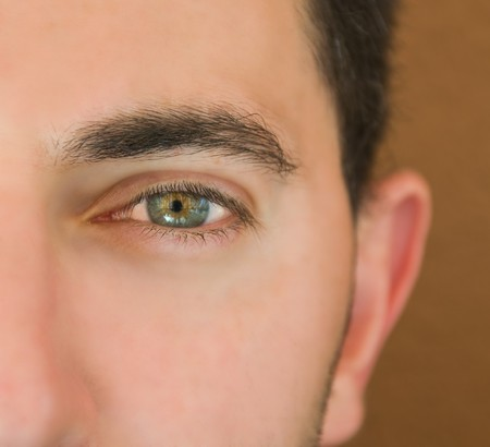 intensely: Closeup shot of the maneye.