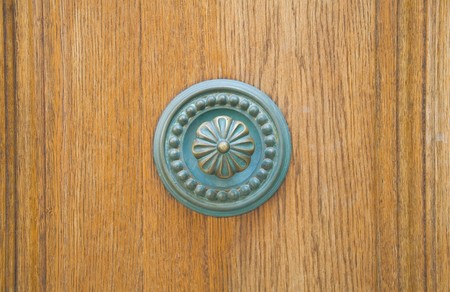 Doorknob on all wood door. Stock Photo - 7427340