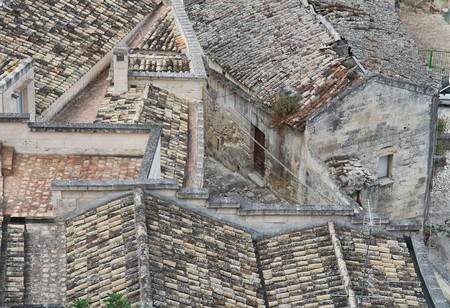 sassi: Tile roofs. Sassi of Matera. Basilicata. Stock Photo