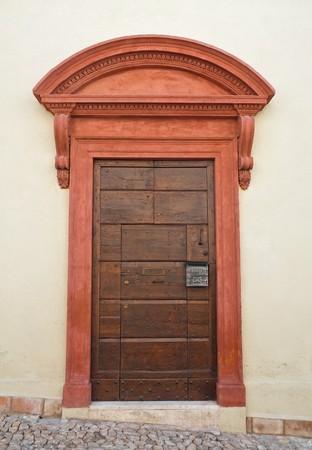front entry: Wooden door. Stock Photo