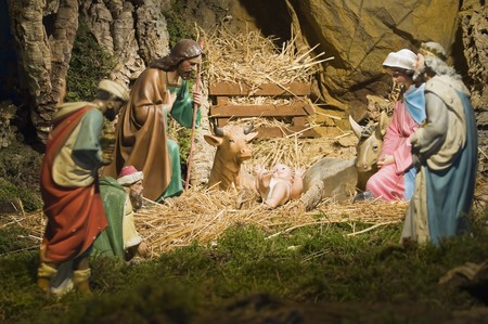 christmas religious: Christs nativity. Stock Photo