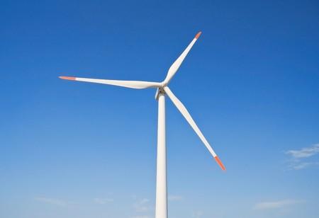 foggia: Wind turbine blade at blue sky. Stock Photo