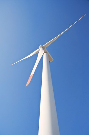 hardwearing: Wind turbine blade at blue sky. Stock Photo