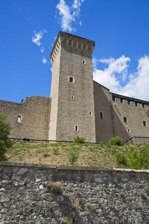 crenellated: Albornoz fortress. Spoleto. Umbria.