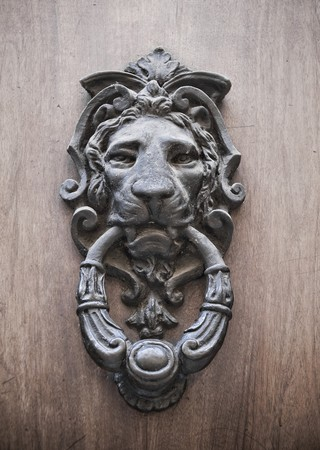 Doorknocker on allwood door. photo
