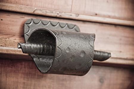 Antique handle on allwood door. Stock Photo - 7639962