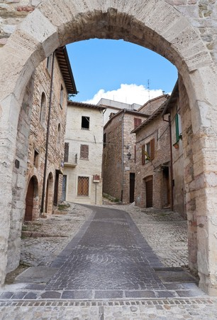 umbria: Federico II Gate. Montefalco. Umbria. Stock Photo