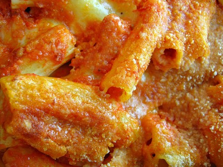 Oven Baked Pasta Background.
