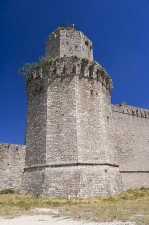 crenellated: Albornoz fortress. Assisi. Umbria. Stock Photo