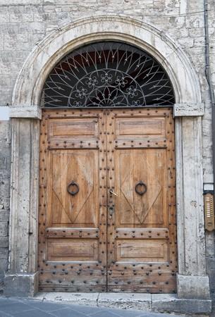 knocker: Wooden door. Stock Photo