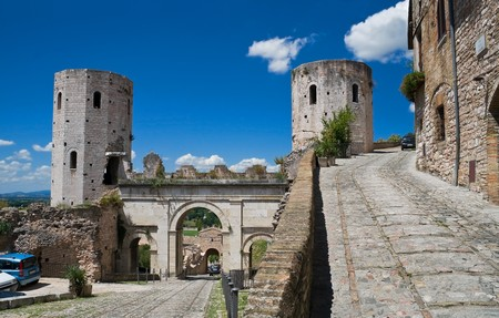 umbria: Towers of Properzio. Spello. Umbria.