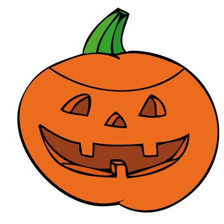 Creepy carved pumpkin face. Vector