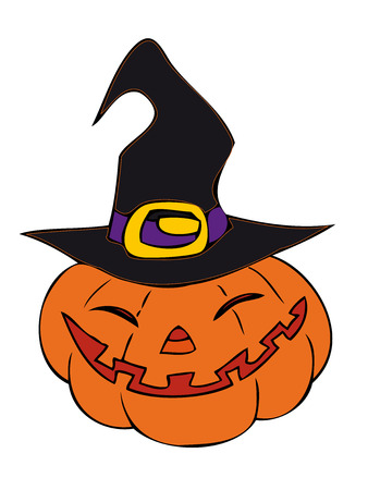 Halloween pumpkin with witch hat.  Vector