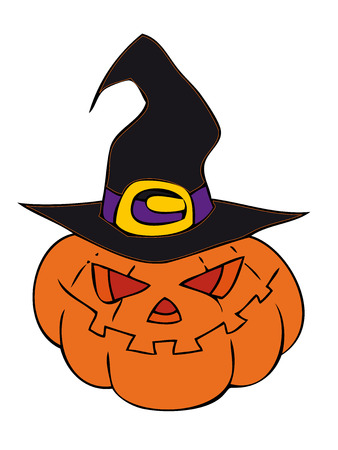 Halloween pumpkin with witch hat.  Vector
