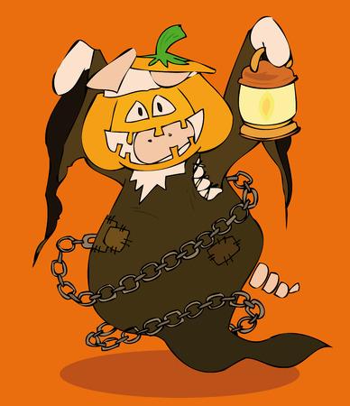 cerdo caricatura: Calabaza de Halloween.