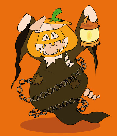 cartoon pig: Halloween Jack-o-lantern.