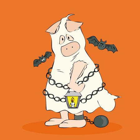 cartoon pig: Halloween Ghost. Illustration