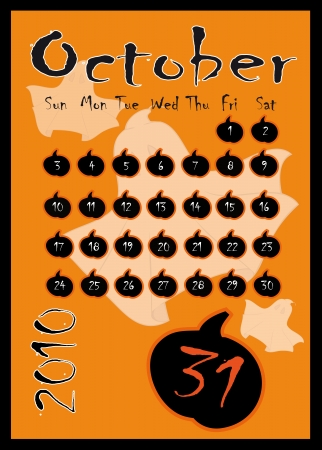 Halloween October Calendar showing the 31st prominently. Stock Vector - 7794484