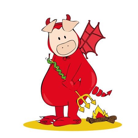 cerdo caricatura: Cerdo de diablo.