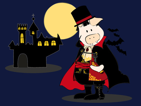 Dracula Pig with castle and full moon. Vector