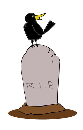 Tombstone with crow. Vector