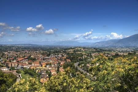 umbria: Panoramic view of Spoleto. Umbria.
