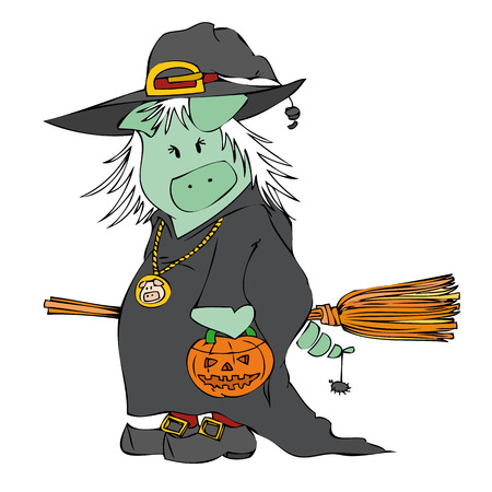 Witch Pig. Vector