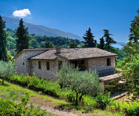 roofed house: House in countryside. Stock Photo