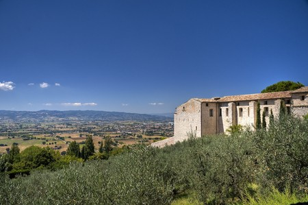 roofed house: View of Assisi. Umbria. Stock Photo