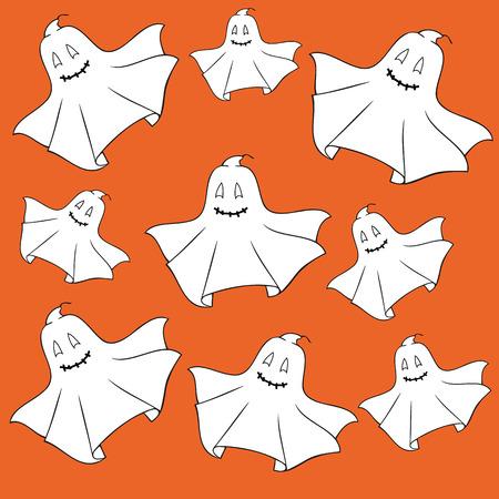presencia: Fantasmas sobre fondo naranja.