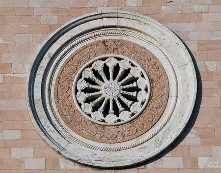 rose window: Rose window. Madonna delle Rose Convent. Assisi. Umbria.