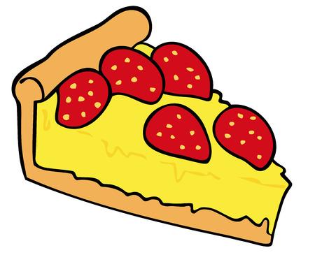Strawberry custard tart. Vector