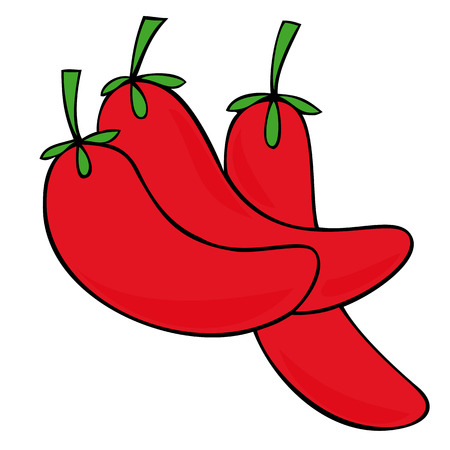 Red hot chili peppers. Vector